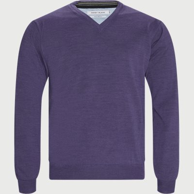Smaralda V-Neck Striktrøje Regular | Smaralda V-Neck Striktrøje | Lilla