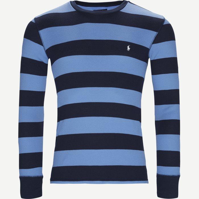 Waffel Crew Neck Long Sleeve - T-shirts - Slim - Blå