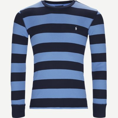 Waffel Crew Neck Long Sleeve Slim | Waffel Crew Neck Long Sleeve | Blå