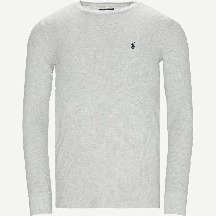 Waffel Crew Neck Long Sleeve - T-shirts - Slim - Grå