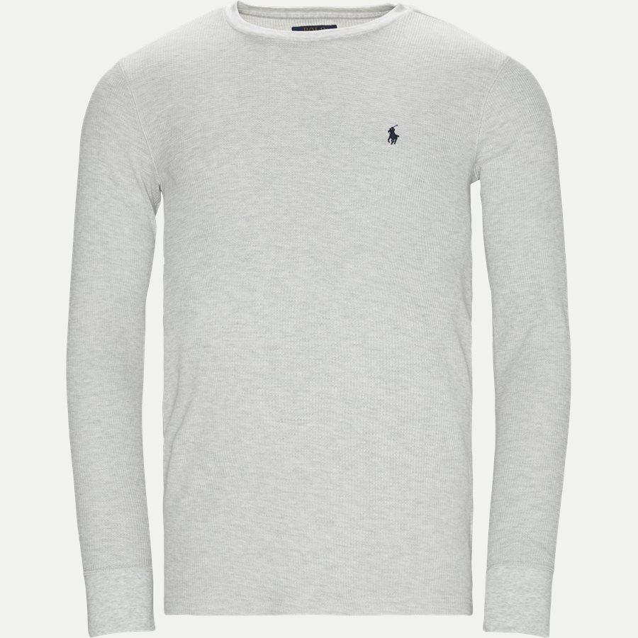 714705228 - Waffel Crew Neck Long Sleeve - T-shirts - Slim - GRÅ - 1
