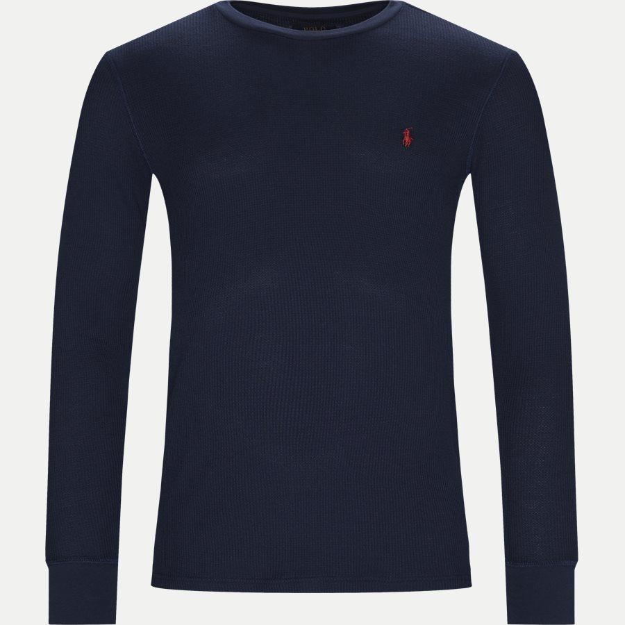 714705228 - Waffel Crew Neck Long Sleeve - T-shirts - Slim - NAVY - 1