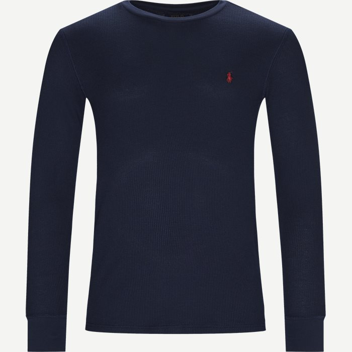 Waffel Crew Neck Long Sleeve - T-shirts - Slim - Blå
