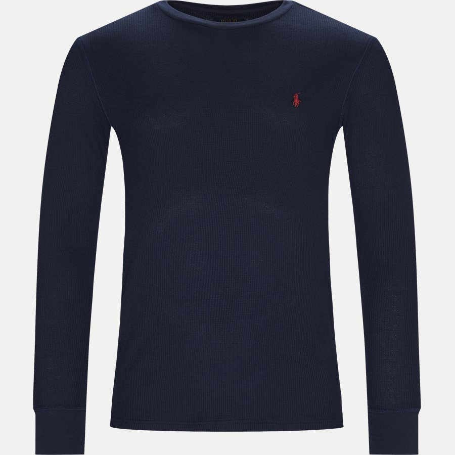 714705228 - Waffle Crew Neck Long Sleeve - T-shirts - Slim - NAVY - 1