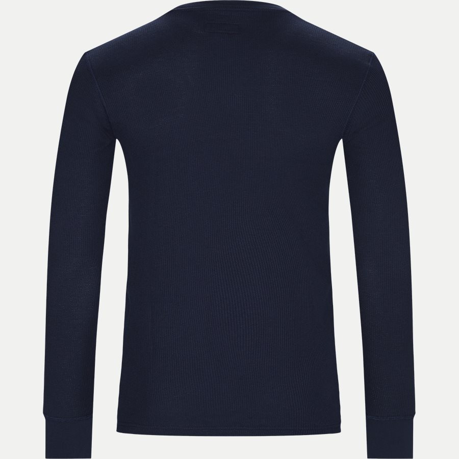 714705228 - Waffle Crew Neck Long Sleeve - T-shirts - Slim - NAVY - 2