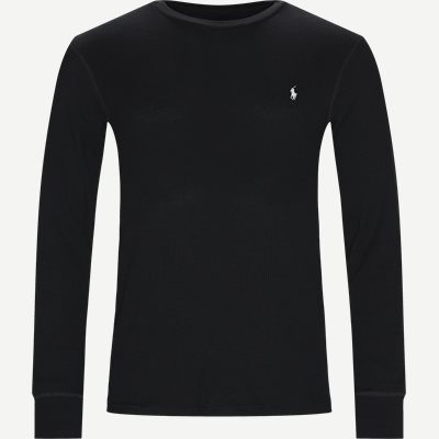 Waffel Crew Neck Long Sleeve Slim | Waffel Crew Neck Long Sleeve | Sort