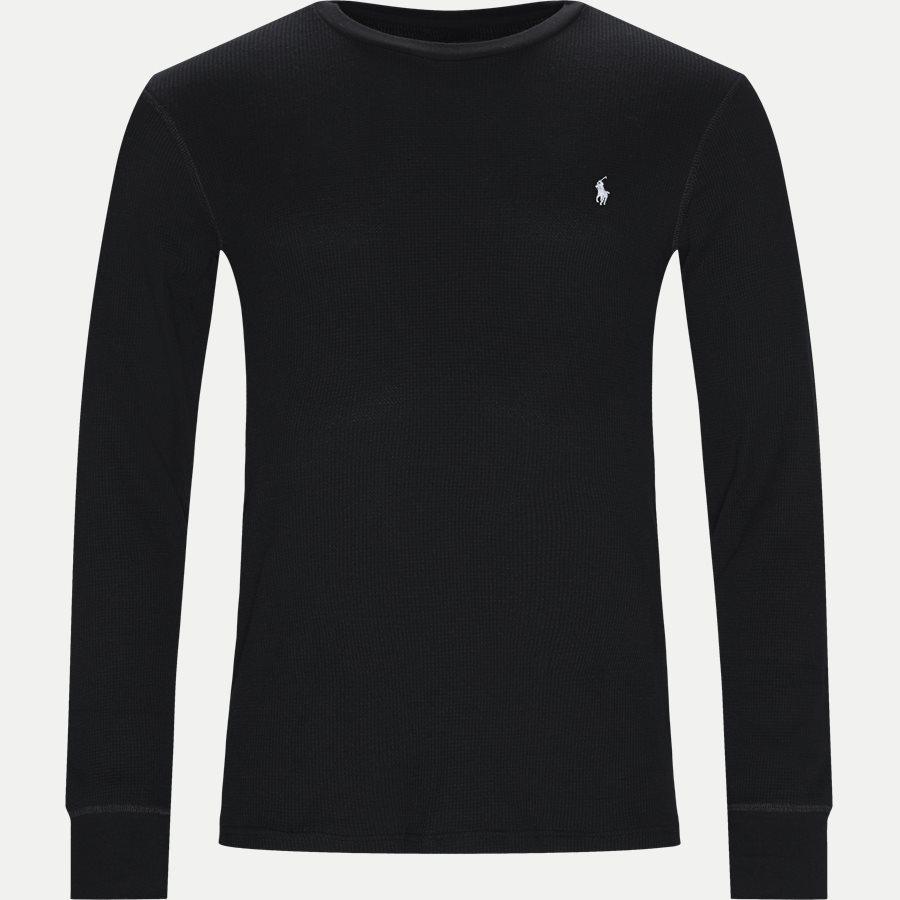 714705228 - Waffel Crew Neck Long Sleeve - T-shirts - Slim - SORT - 1