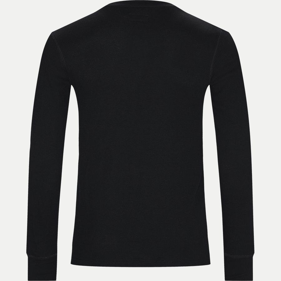 714705228 - Waffel Crew Neck Long Sleeve - T-shirts - Slim - SORT - 2