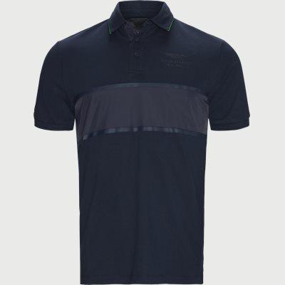 AMR Tonal Panel Polo T-shirt Slim   AMR Tonal Panel Polo T-shirt   Blå