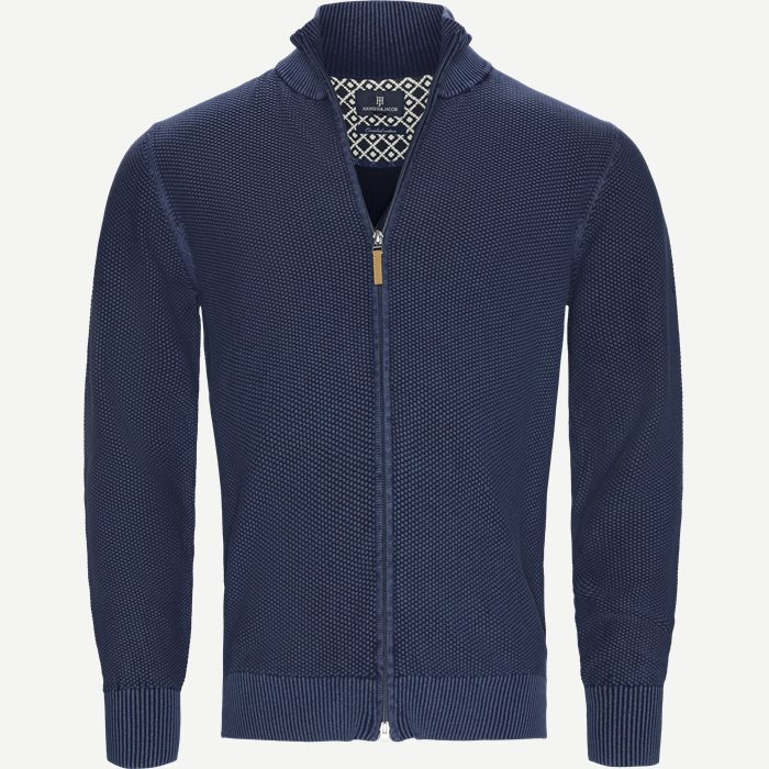 Full Zip Vintage Cardigan - Strik - Regular - Blå