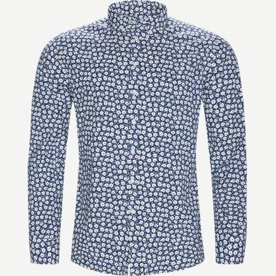 Shirt Blue Flower Casual fit | Shirt Blue Flower | Blå