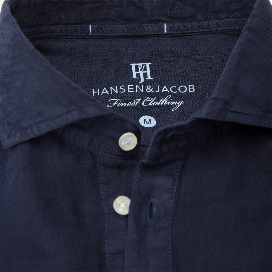 04640 SHORT SLEEVE LINEN SHIRT - Short Sleeve Linen Shirt - Skjorter - Regular - NAVY - 5
