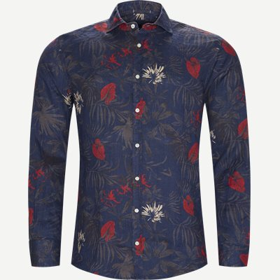 Summer Print Linen Shirt Casual fit | Summer Print Linen Shirt | Blå