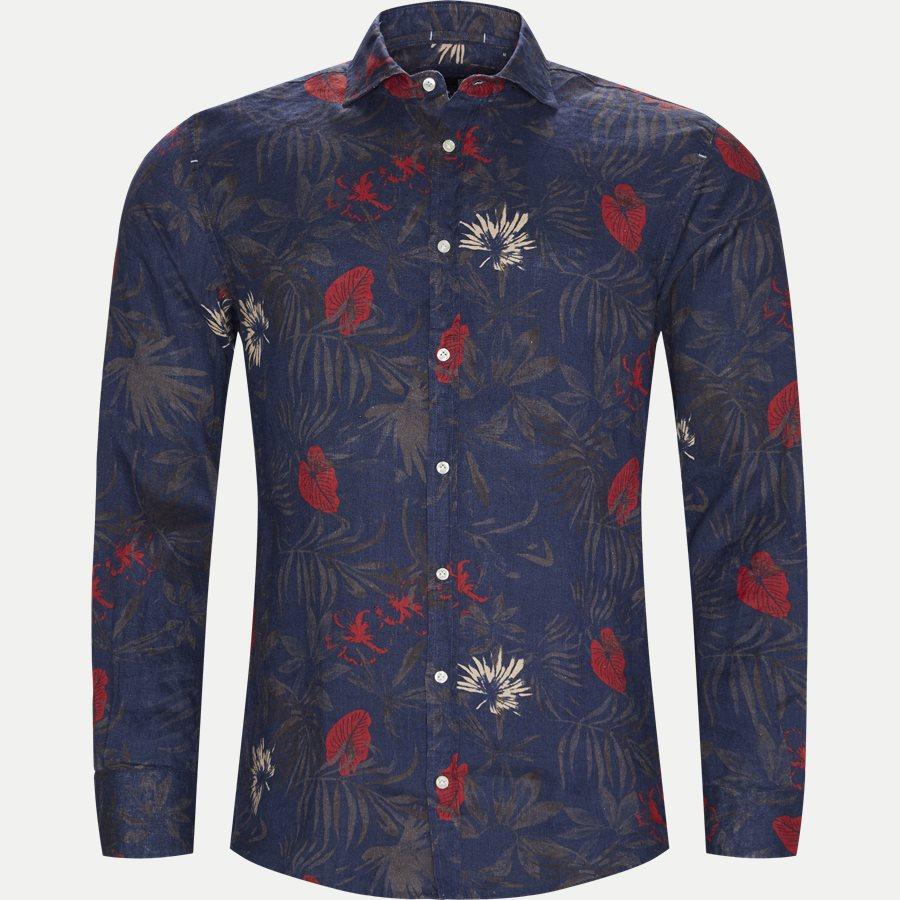 04643 SUMMER PRINT LINEN SHIRT - Summer Print Linen Shirt - Skjorter - Casual fit - NAVY - 1