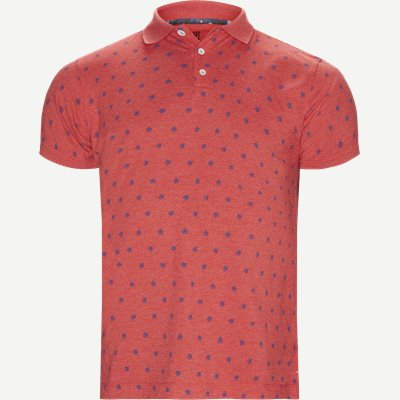 Leaf Print Polo T-shirt Regular | Leaf Print Polo T-shirt | Rød