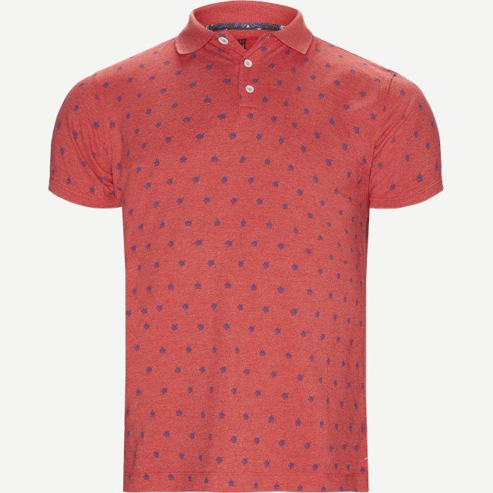 Leaf Print Polo T-shirt - T-shirts - Regular - Rød