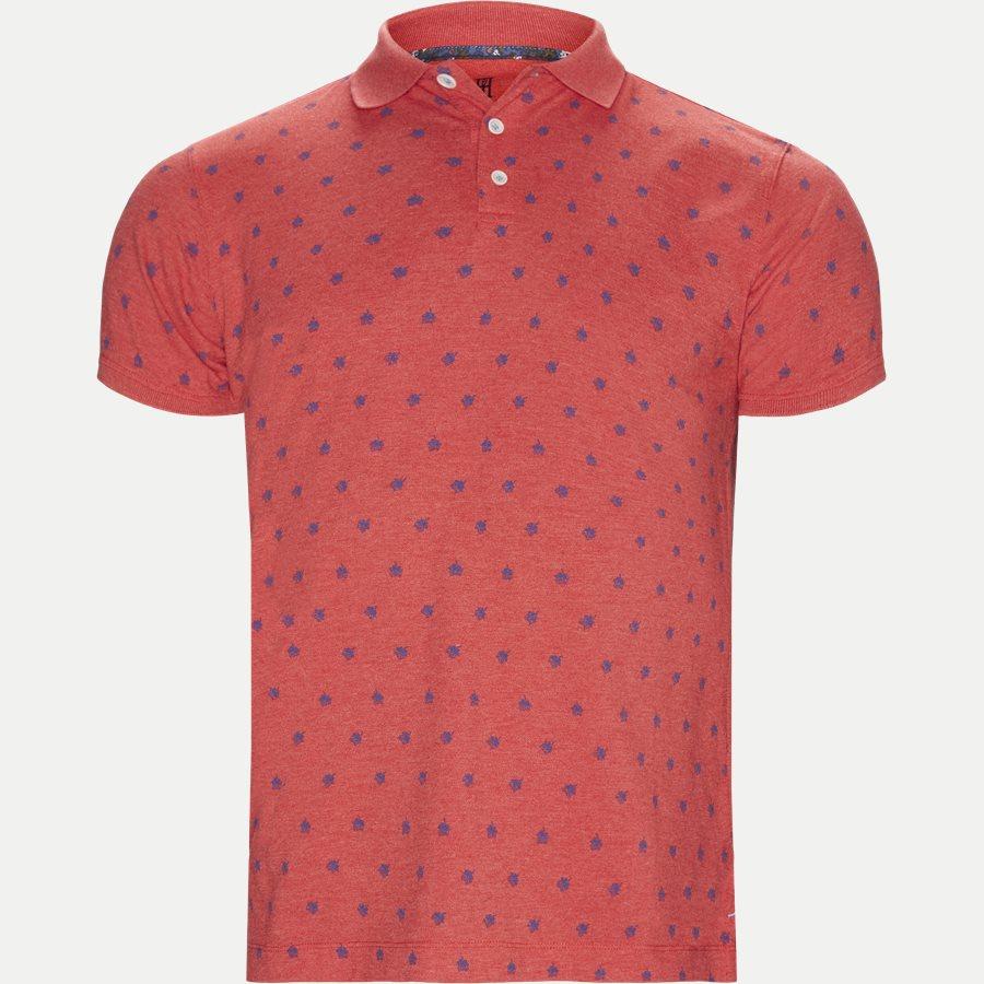 04671 LEAF PRINT POLO - Leaf Print Polo T-shirt - T-shirts - Regular - RØD - 1
