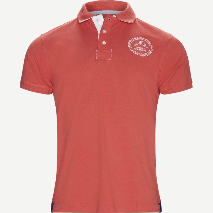 Striped Back Polo T-shirt - T-shirts - Regular - Rød
