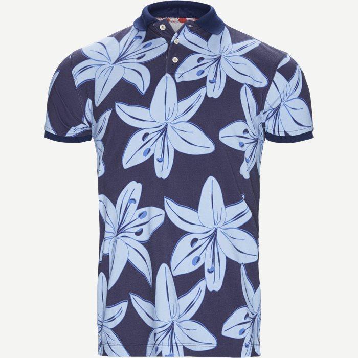 Big Flower Polo T-shirt - T-shirts - Regular - Blå