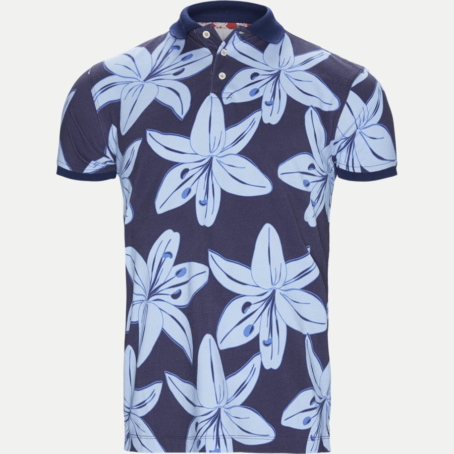 04686 BIG FLOWER POLO - Big Flower Polo T-shirt - T-shirts - Regular - NAVY - 1