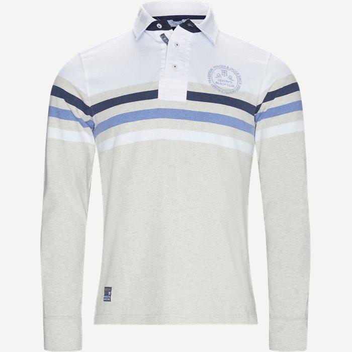 Chest Stripe Rugger Langærmet Polo T-shirt - T-shirts - Modern fit - Hvid