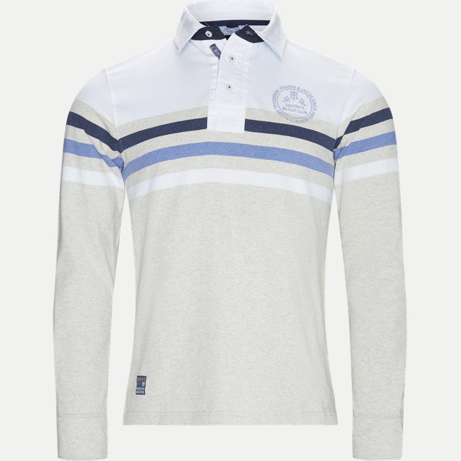 04677 CHEST STRIPE RUGGER - Chest Stripe Rugger Langærmet Polo T-shirt - T-shirts - Modern fit - HVID - 1