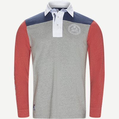 Patchwork Rugger Langærmet Polo T-shirt Modern fit | Patchwork Rugger Langærmet Polo T-shirt | Grå