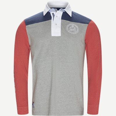 Patchwork Rugger Langærmet Polo T-shirt Modern fit | Patchwork Rugger Langærmet Polo T-shirt | Grå