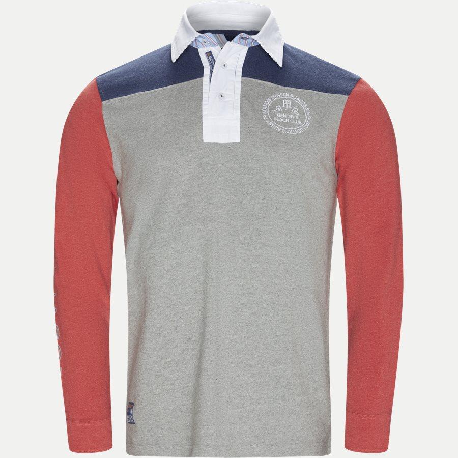 04683 PATCHWORK RUGGER - Patchwork Rugger Langærmet Polo T-shirt - T-shirts - Modern fit - GRÅ - 1