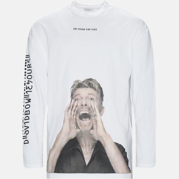 Langærmede t-shirts - Oversized - Hvid