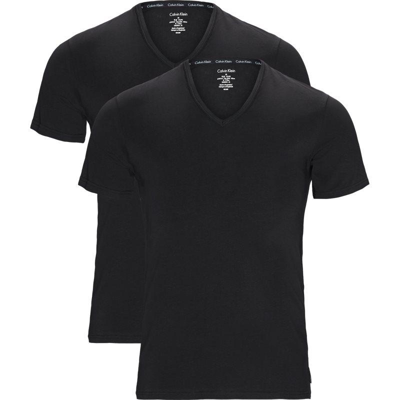 calvin klein Calvin klein 2-pack v-neck t-shirts sort/sort fra quint.dk
