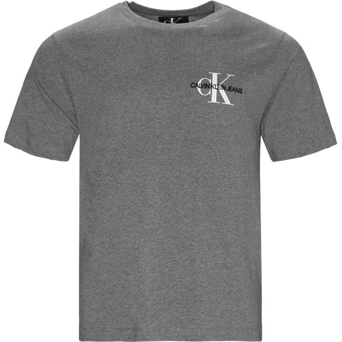 Monogram Embro SS Tee - T-shirts - Regular - Grå