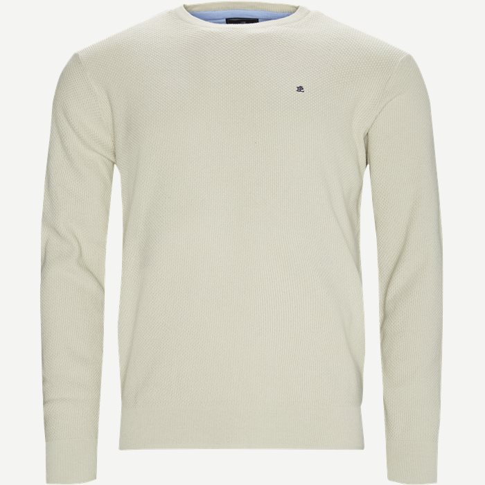 Crew Neck Striktrøje - Strik - Regular - Sand