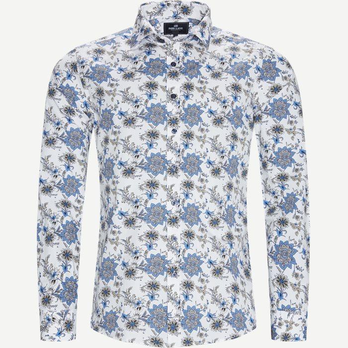Blomstret Skjorte - Skjorter - Regular - Hvid