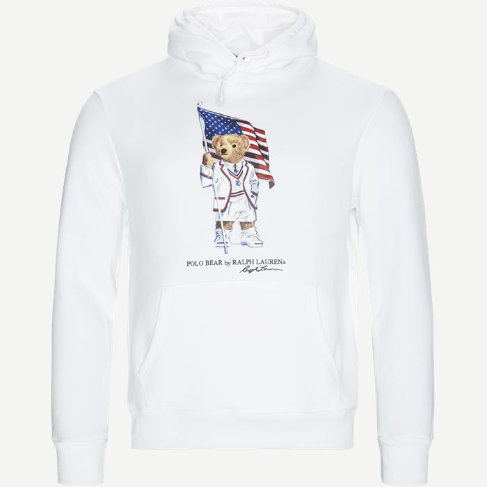 Polo Bear Fleece Hoodie - Sweatshirts - Regular - Hvid