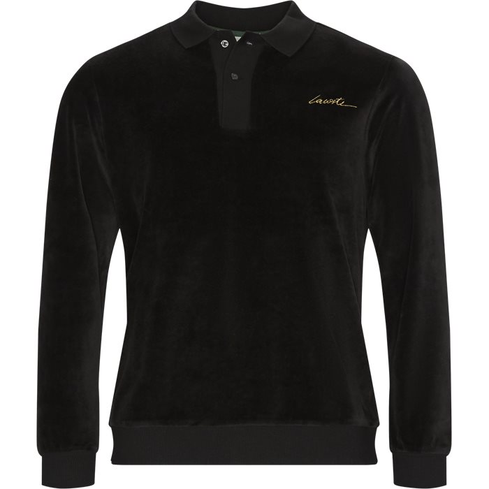 Velvet Polo Shirt - Sweatshirts - Regular - Sort