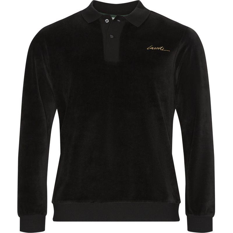Image of   Lacoste Velvet Polo Shirt Sort