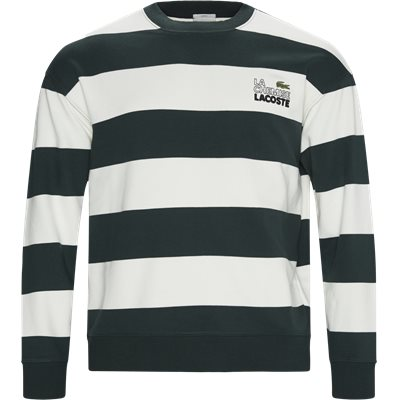 Embroidered Striped Fleece Sweatshirt Regular | Embroidered Striped Fleece Sweatshirt | Grøn