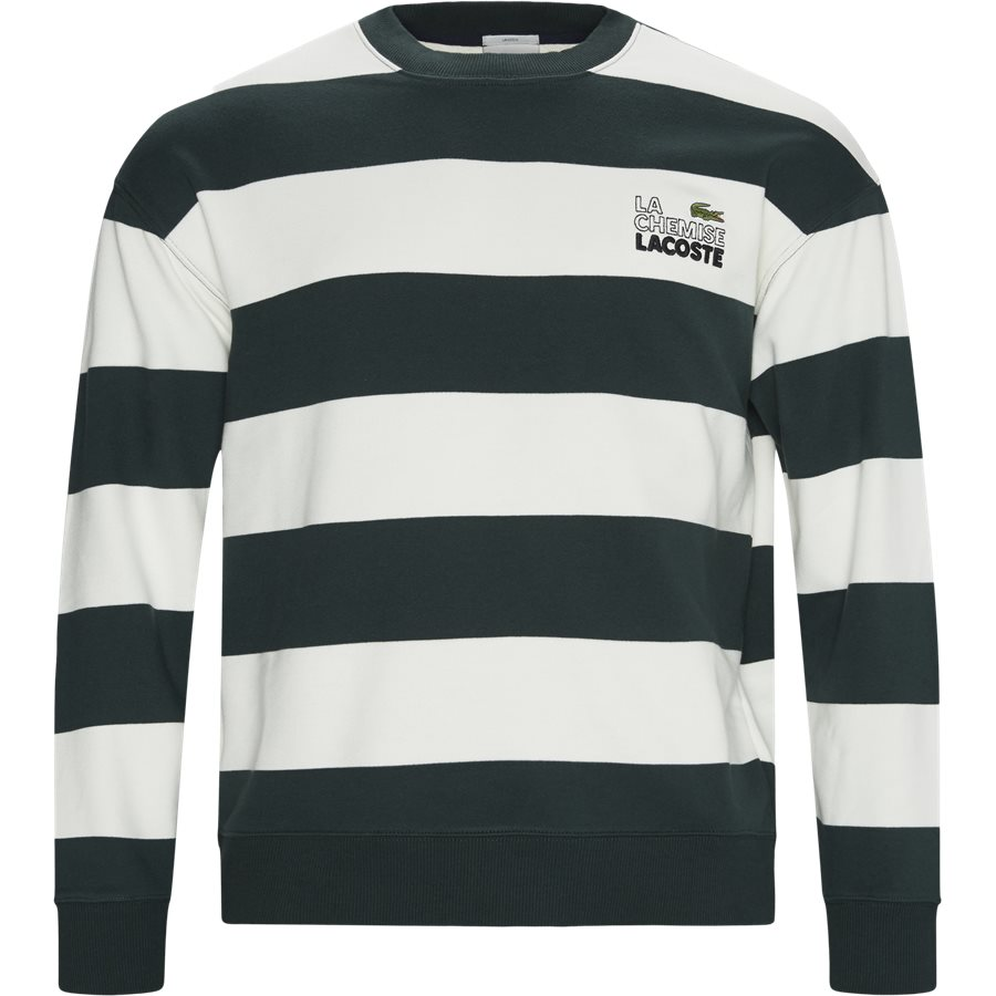 SH8142 - Embroidered Striped Fleece Sweatshirt - Sweatshirts - Regular - GRØN - 1