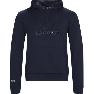 Embroidered Logo And Kangaroo Pocket Hooded Fleece Sweatshirt Regular | Embroidered Logo And Kangaroo Pocket Hooded Fleece Sweatshirt | Blå