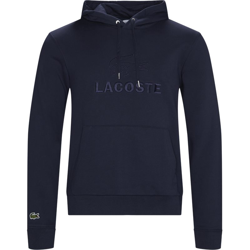 Image of   Lacoste Embroidered Logo And Kangaroo Pocket Hooded Fleece Sweatshirt Navy