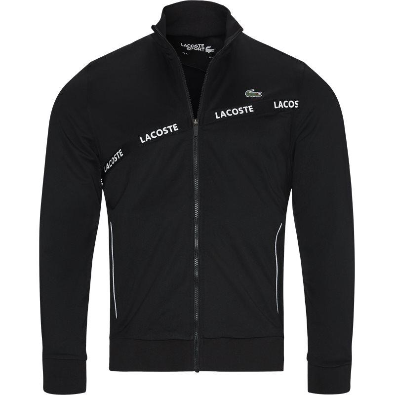 Image of   Lacoste Signature Band Piqué Zip Sweatshirt Sort