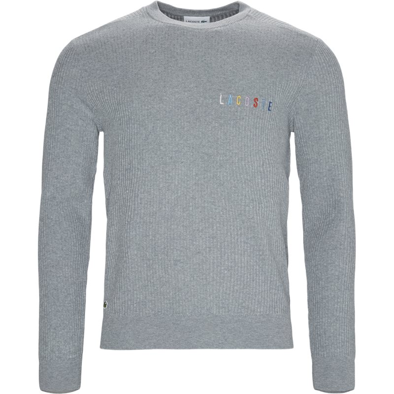 lacoste – Lacoste crew neck multicoloured signature embroidery cotton blend sweater grå på quint.dk