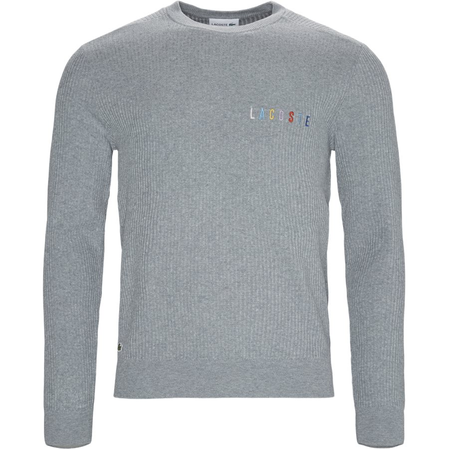 AH7950 - Crew Neck Multicoloured Signature Embroidery Cotton Blend Sweater - Strik - Regular - GRÅ - 1