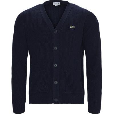V-Neck Knit Effects Cotton Blend Cardigan Regular | V-Neck Knit Effects Cotton Blend Cardigan | Blå
