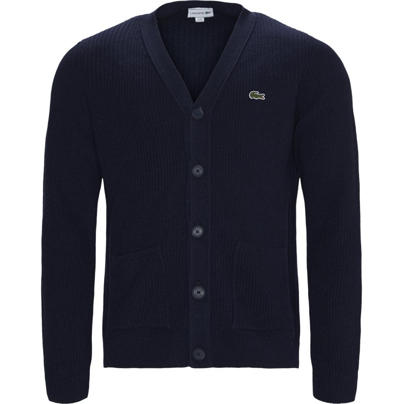 Image of   Lacoste V-neck Knit Effects Cotton Blend Cardigan Navy