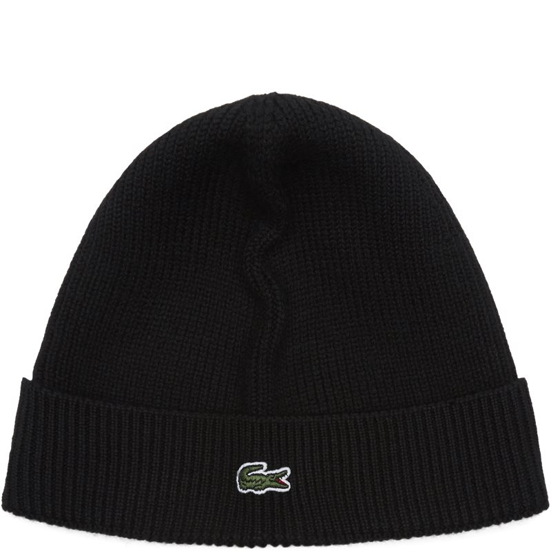 Image of   Lacoste Turned Edge Ribbed Wool Beanie Sort