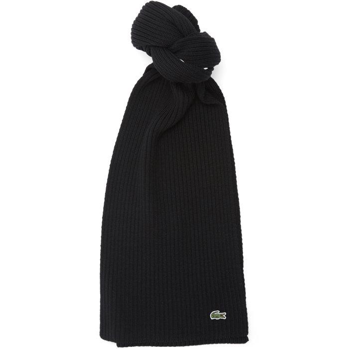 Ribbed Wool Scarf - Tørklæder - Sort
