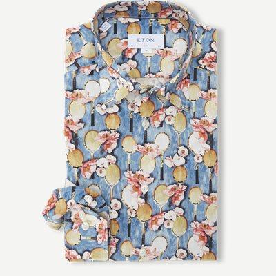 Blomstret Poplin Skjorte Blomstret Poplin Skjorte | Blå