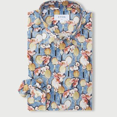 2757 Blomstret Poplin Skjorte 2757 Blomstret Poplin Skjorte | Blå